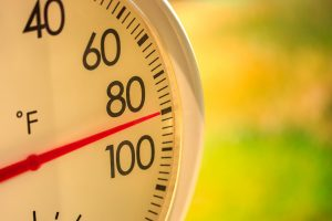 Thermometer showing ninety degree